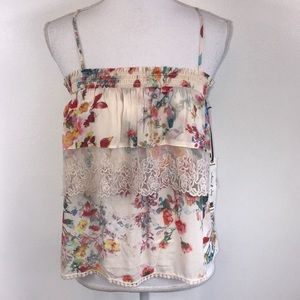 NEW Willow and Clay Floral Print Ruffled Tank XS